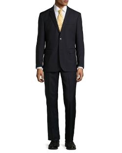 Neiman Marcus - Two-Piece Narrow Stripe Wool Suit