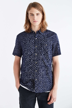 Urban Outfitters - Salt Valley Medallion Print Short-Sleeve Button-Down Shirt