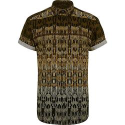 River Island - Black Tribal Print Short Sleeve Shirt