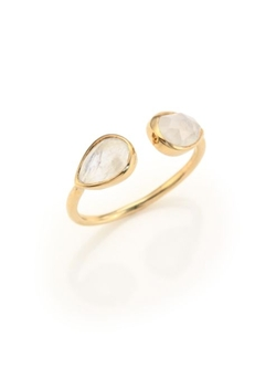 Jacquie Aiche  - Double Teardrop Moonstone Yellow Gold Cuff Ring