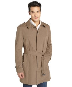 Kenneth Cole  - Khaki Belted Brushed Cotton Blend Trench Coat