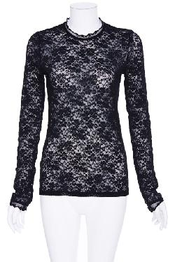 ROMWE  - Perspective Long-sleeved Black Lace T-shirt