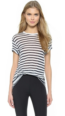 T by Alexander Wang  - Stripe Rayon Linen Short Sleeve Tee