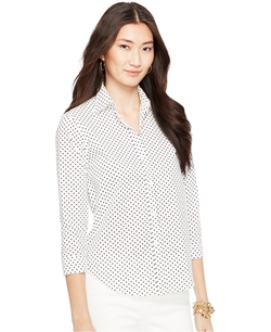 Ralph Lauren - Three-Quarter-Sleeve Wrinkle-Resistant Polka-Dot Shirt
