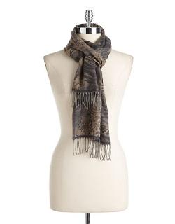 LORD & TAYLOR - Woven Animal Print Scarf