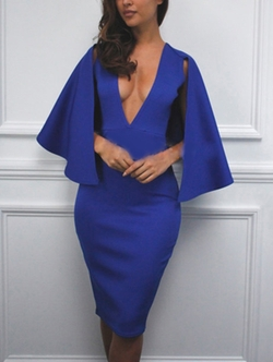 Romwe - Deep V Neck Cape Sheath Dress