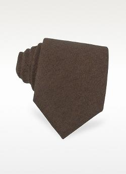 Forzieri  - Solid Brown Cashmere Extra-Long Tie