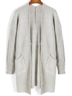 Romwe - Pockets Long Sleeve Loose Cardigan