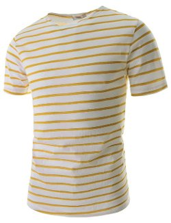 TheLees  - Mens Slim Fit Stripe Pattern Short Sleeve T-Shirts