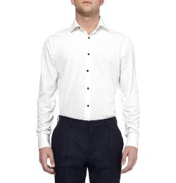 Lanvin   - Glass-Button Cotton Tuxedo Shirt