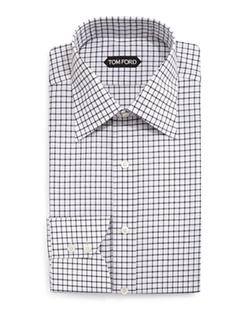 Tom Ford - Windowpane-Pattern Dress Shirt
