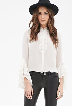 Forever 21 - Tiered Flounce-Sleeve Blouse
