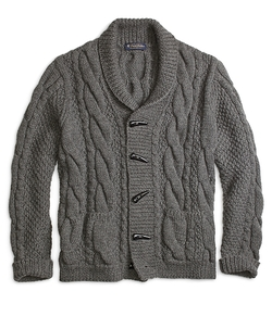 Brooks Brothers - Handknit Shawl Collar Cable Cardigan