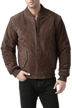 "BGSD - ""Wallace"" Suede Leather Bomber Jacket"