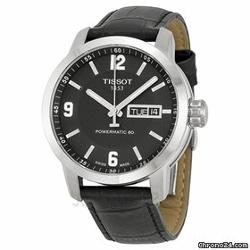 Tissot  - PRC200 Powermatic 80 Automatic Black Dial Black Leather Mens Watch