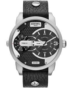 DIESEL - Unisex Mini Daddy Black Leather Strap Watch