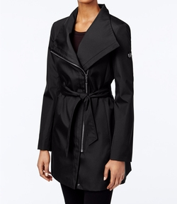 Calvin Klein  - Asymmetrical Belted Water Resistant Trench Coat
