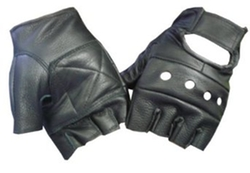 Leatherbull - Black Leather Fingerless Motorcycle Biker Glove