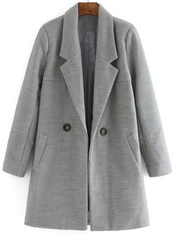 Romwe - Lapel Buttons Long Grey Coat