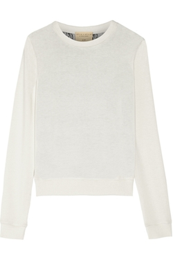 Alice + Olivia - Lace-Paneled Stretch-Knit Sweater
