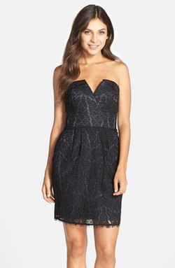 Adelyn Rae - Strapless Lace Sheath Dress