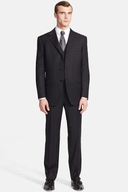 Canali  - Classic Fit Three-Piece Stripe Suit