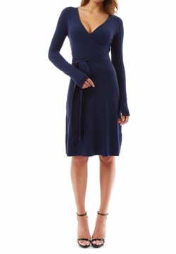 PattyBoutik  - V-Neck Faux Wrap Knit Dress