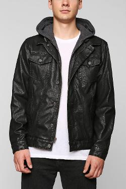 Charles & 1/2  - Faux-Leather Hooded Jacket