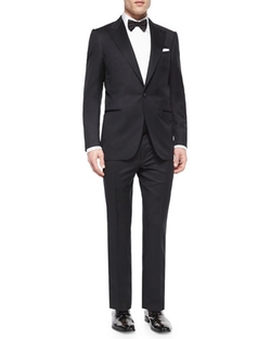 Ermenegildo Zegna  - Peak-Lapel One-Button Wool Tuxedo