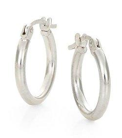 Saks Fifth Avenue  - White Gold Hoop Earrings