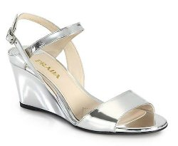 Prada  - Metallic Leather Wedge Sandals