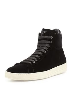 Tom Ford  - Russel Velvet High Top Sneaker