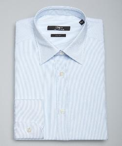 Z Zegna  - Tonal Thin Stripe Cotton Spread Collar Dress Shirt