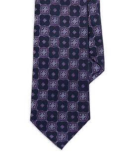 Burma Bibas  - Seven Fold Floral Medallion Tie