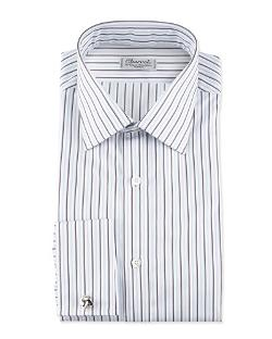 Charvet	  - Striped French-Cuff Poplin Dress Shirt