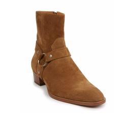 Saint Laurent - Wyatt 40 Suede Harness Boots