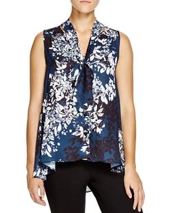 Aqua - Sleeveless Floral-Print Blouse