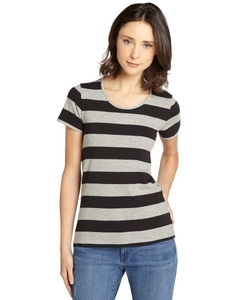 French Connection - Striped Stretch Cotton Open Back T-Shirt