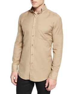 Tom Ford  - Tailored Fit Cotton Cashmere Shirt