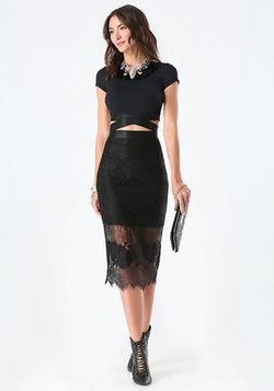 Bebe - Lace Midi Skirt