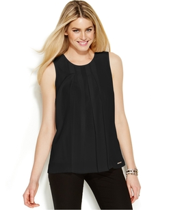 Michael Michael Kors - Sleeveless Pleat-Front Top