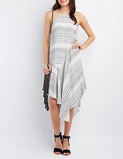 Charlotte Russe - Striped Handkerchief Hem Dress