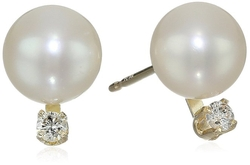 Bella Pearl  - Chinese Freshwater Cultured Pearl Diamond Stud Earrings