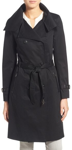 Mackage - Microstud Detail Double Breasted Long Trench Coat