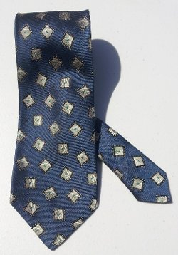 Tino Cosma - Blue with Gray Diamond Patterned Men