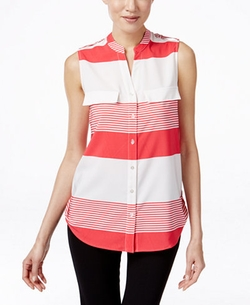 Ny Collection - Sleeveless Striped Utility Shirt