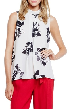 Vince Camuto - Floral Mock Neck Sleeveless Blouse