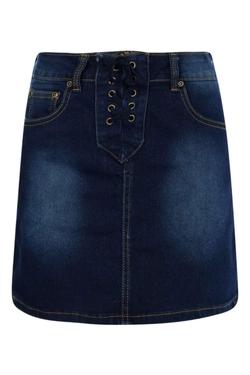 Boohoo Blue - Laura Lace Up A Line Mini Skirt
