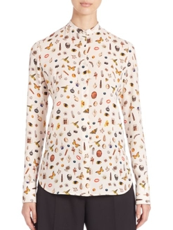 Alexander McQueen  - Double Georgette Obession Print Blouse