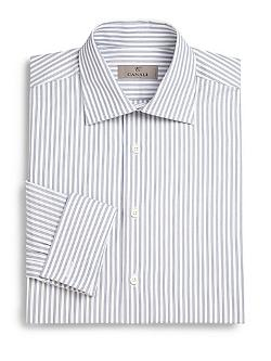Canali  - Track Stripe Cotton Dress Shirt